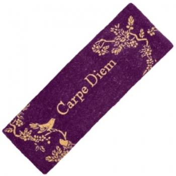 """Paillasson """"Carpe Diem"""" , fibres de coco, violet avec motif d'oiseau, dimensions: L 120 xl 40 x h 3,5 cm"""