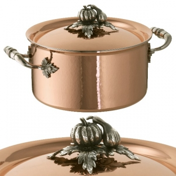 Ruffoni Opus Cupra Soup Pot with lid, copper, hammered and polished/stainless steel, handles and lid knob solid brass silver plated, theme pumpkin/gourd, Ø 20 x h 11 cm