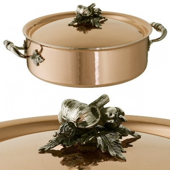Ruffoni Opus Cupra Stock Pot with lid, low, copper, hammered and polished/stainless steel, handles and lid knob solid brass silver plated, theme garlic/pepper, Ø 26 x h 9 cm