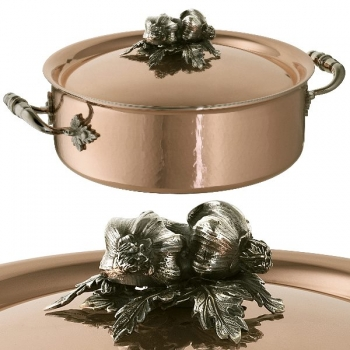 Ruffoni Opus Cupra Stock Pot with lid, low, copper, hammered and polished/stainless steel, handles and lid knob solid brass silver plated, theme garlic, Ø 24 x h 9 cm
