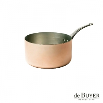 de Buyer, Casserole, for induction, 90% copper, 10% stainless steel, solid stainless steel handle, Ø 14 x h 7,0 cm, 1.0 l