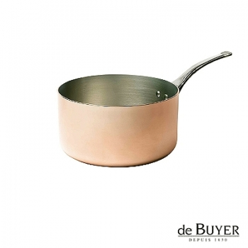 de Buyer, Casserole, for induction, 90% copper, 10% stainless steel, solid stainless steel handle, Ø 16 x h 8.0 cm, 1.6 l