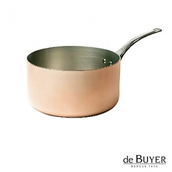 de Buyer, Casserole, for induction, 90% copper, 10% stainless steel, solid stainless steel handle, Ø 18 x h 10 cm, 2.5 l