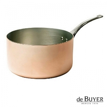 de Buyer, Casserole, for induction, 90% copper, 10% stainless steel, solid stainless steel handle, Ø 24 x h 7 cm, 3.0 l