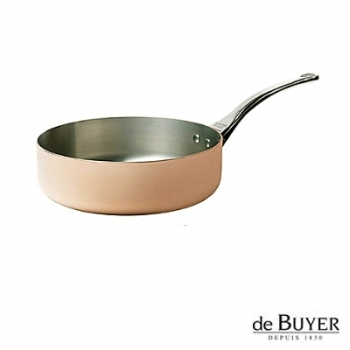 de Buyer, Sauteuse with handle, for induction, 90% copper, 10% stainless steel, solid stainless steel handle, Ø 16 x h 5.0 cm, 1.0 l