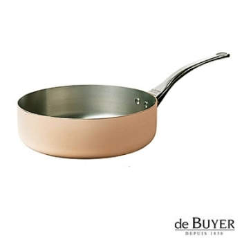 de Buyer, Sauteuse with handle, for induction, 90% copper, 10% stainless steel, solid stainless steel handle, Ø 20 x h 6.0 cm, 1.8 l