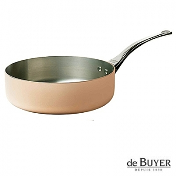 de Buyer, Sauteuse with handle, for induction, 90% copper, 10% stainless steel, solid stainless steel handle, Ø 24 x h 7.0 cm, 3.0 l