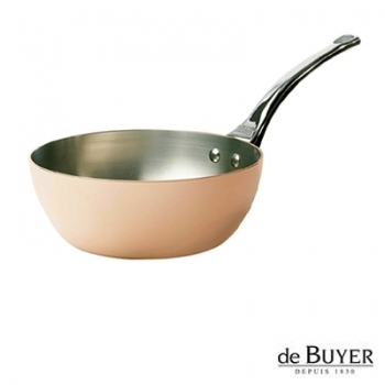 de Buyer, Sauteuse conical with handle, for induction, 90% copper, 10% stainless steel, solid stainless steel handle, Ø 20 x h 8.0 cm, 2.0 l