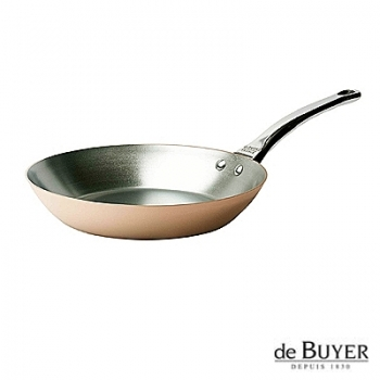 de Buyer, Pan, round, induction, 90% copper, 10% stainless steel, solid stainless steel handle, Ø 24 cm