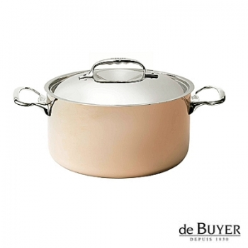 de Buyer, Pot, high with handles and lid, for induction, 90% copper, 10% stainless steel, solid stainless steel handles, Ø 20 x h 10.5 cm, 3.3 l