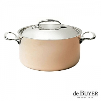 de Buyer, Pot, high with handles and lid, for induction, 90% copper, 10% stainless steel, solid stainless steel handles, Ø 24 x h 13.0 cm, 5.4 l