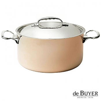 de Buyer, Pot, high with handles and lid, for induction, 90% copper, 10% stainless steel, solid stainless steel handles, Ø 28 x h 15.0 cm, 6.5 l
