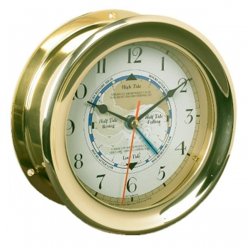 Captain's Clock with solid brass housing, roman face, quartz movement, Dimensions: Ø 18 x d 8 cm