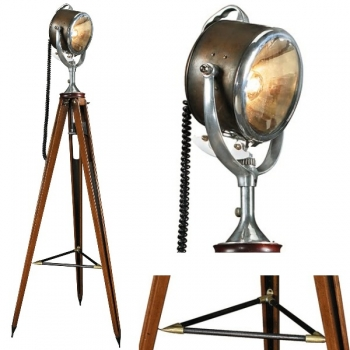 Tripod Lamp Searchlight, bronzed brass, aluminium, glass, with mahogany coloured wooden tripod, antique finished brass fittings, h 164 x Ø 64 cm