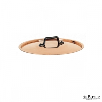 de Buyer, Lid, round, 90% copper, 10% stainless steel, solid cast iron handle, Ø 14 cm