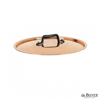 de Buyer, Lid, round, 90% copper, 10% stainless steel, solid cast iron handle, Ø 18 cm