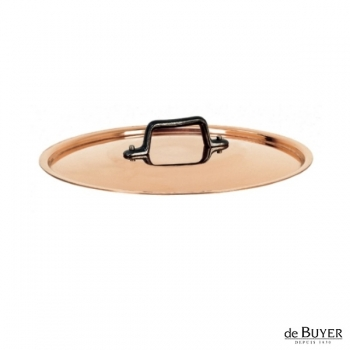 de Buyer, Lid, round, 90% copper, 10% stainless steel, solid cast iron handle, Ø 20 cm