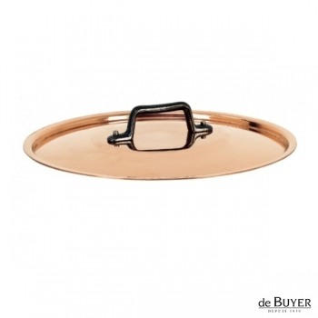de Buyer, Lid, round, 90% copper, 10% stainless steel, solid cast iron handle, Ø 24 cm