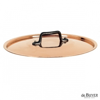 de Buyer, Lid, round, 90% copper, 10% stainless steel, solid cast iron handle, Ø 28 cm