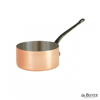 de Buyer, Casserole, 90% copper, 10% stainless steel, solid cast iron handle, Ø 12 x h 7 cm, 0.8 l