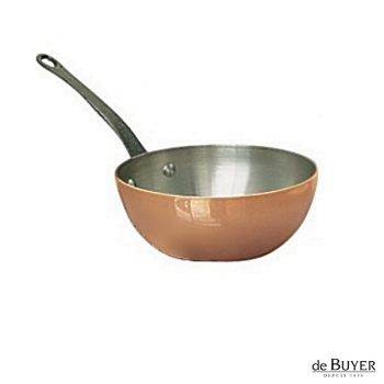de Buyer, Sauteuse with handle, conical, 90% copper, 10% stainless steel, solid cast iron handle, Ø 16 x h 6.0 cm, 0.9 l