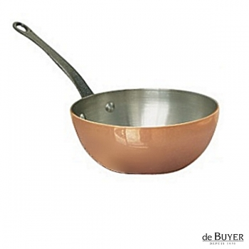 de Buyer, Sauteuse with handle, conical, 90% copper, 10% stainless steel, solid cast iron handle, Ø 20 x h 8.0 cm, 1.7 l