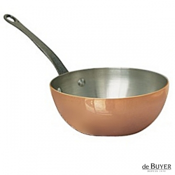 de Buyer, Sauteuse with handle, conical, 90% copper, 10% stainless steel, solid cast iron handle, Ø 24 x h 9.0 cm, 2.9 l