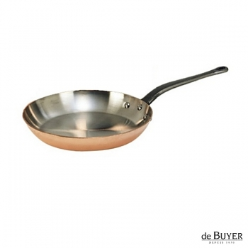 de Buyer, Pan, round, 90% copper, 10% stainless steel, solid cast iron handle, Ø 24 cm