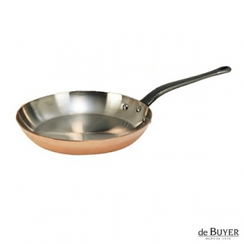 de Buyer, Pan, round, 90% copper, 10% stainless steel, solid cast iron handle, Ø 28 cm