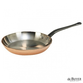 de Buyer, Pan, round, 90% copper, 10% stainless steel, solid cast iron handle, Ø 32 cm