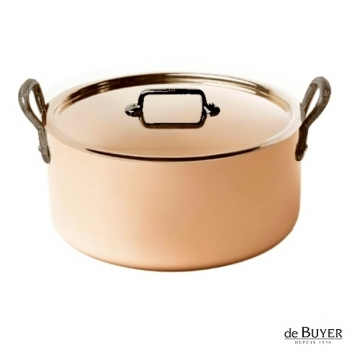de Buyer, Pot Cocotte with handles and lid, 90% copper, 10% stainless steel, solid cast iron handles, Ø 24 x h 11.5 cm, 5.2 l