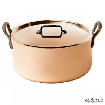 de Buyer, Pot Cocotte with handles and lid, 90% copper, 10% stainless steel, solid cast iron handles, Ø 28 x h 13.0 cm, 8.0 l
