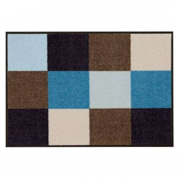 Doormat Squares brown/blue, anti slip back, easy-care, machine washable at 40° C, l 75 x w 50 cm