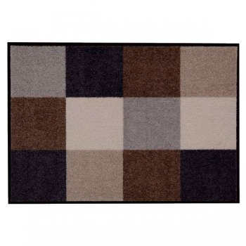 Doormat Squares beige/grey, anti slip back, easy-care, machine washable at 40° C, l 75 x w 50 cm