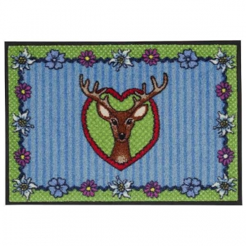 Doormat Deer in Heart, anti slip back, easy-care, machine washable at 40° C, l 75 x w 50 cm