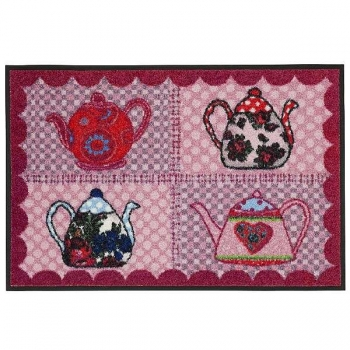Doormat Teapots red, anti slip back, easy-care, machine washable at 40° C, l 75 x w 50 cm