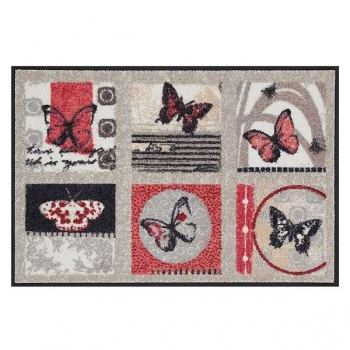 Doormat Butterflies, anti slip back, easy-care, machine washable at 40° C, l 75 x w 50 cm