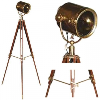 Eichholtz Tripod Lamp Searchlight, bronzed brass, aluminium, glass, with mahogany coloured wooden tripod, antique finished brass fittings, h 164 x Ø 64 cm