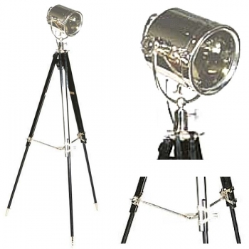 Eichholtz Tripod Lamp Searchlight, shiny nickeled, glass, with black coloured wooden tripod, nickeled fittings, h 180 x Ø 65 cm