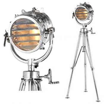Eichholtz Tripod Lamp Morse-Spotlight Sealight, shiny polished Aluminium, max. h 220 x Ø foot 100 cm