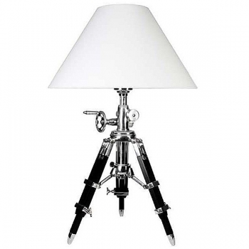 Eichholtz Tripod Lamp with chintz shade, white, polished aluminium/black wood, h 57-72 x Ø foot 40, Ø shade 50 cm