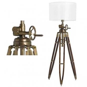 Eichholtz Stativ Stehlampe, Chintz-Schirm, Weiß, Messing antik/nussbraunes Holzstativ, max. H 220 x Ø Fuß 100, Ø Schirm 70cm