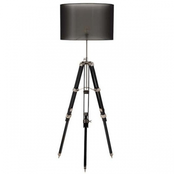 Eichholtz Tripod Lamp with chintz shade, black, antique pewter/black wooden tripod, max. h 185 x Ø foot 70, Ø shade 50 cm