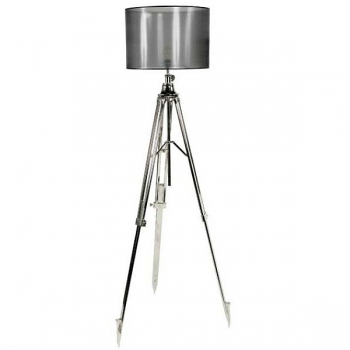 Eichholtz Stativ Stehlampe, Chintz-Schirm, Dunkelgrau/vernickeltes Metallstativ, max. H 200 x Ø Fuß 70, Ø Schirm 50cm
