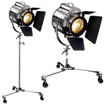 Eichholtz Floor Lamp, Flood Light MGM, shiny nickeled/black, metal post with 3 wheels, height adjustable 190-215 cm