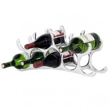 Eichholtz Wine Rack for 9 bottles, solid aluminium, polished, w 56 x h 24 x d 11 cm