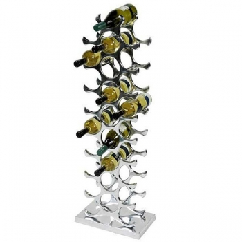 Eichholtz Wine Rack for 27 bottles, solid aluminium, polished, w 28 x h 103 x d 15 cm