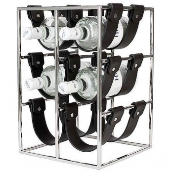 Eichholtz Wine Rack for 9 bottles, steel, shiny nickeled/black leather, w 25 x h 37 x d 25 cm