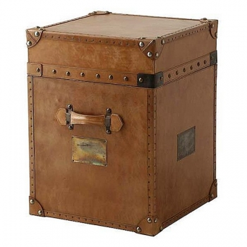 Eichholtz Trunk Table, leather tapestried, cognac/brass antique, h 60 x w 45 x d 45 cm