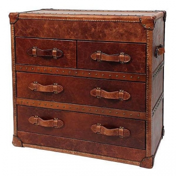 Eichholtz Chest, leather tapestried, with 4 drawer, copper/brass antique, h 84 x w 87 x d 46 cm